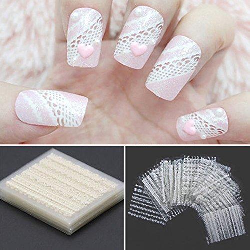 iDealhere 30sheets Verschidenen Farben 3D Lace Blume Nail Art Sticker Kunst Aufkleber Manicure Deko (Weiß)