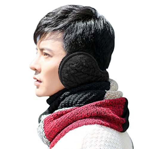 Unisex Earwarmer Knit Cashmere Plush Fleece Ear Cover Winter Foldable Earmuffs Behind Head Black (Warmers Bandless Ear)