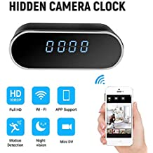 WiFi Hidden Clock Camera HD 1080P Alarm Clock Night Vision/Motion Detection/Loop Home Surveillance Cameras Indoor Home Security Monitoring Nanny Cam 140°Angle Night Vision