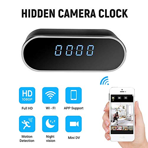 Spy Camera, ispycam Hidden Camera in Clock WiFi Hidden Cameras 1080P Video Recorder Wireless IP Camera Indoor Home Security Monitoring Nanny Cam 140?Angle Night Vision Motion Detection