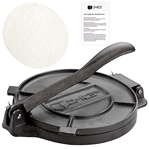 D-ICE Tortilla Press – 8 Inch Pre Seasoned Cast Iron Roti Press, Corn Tortilla Press, Pataconera, Tortilladora - 30 Pre-Cut Round Non-Stick Parchment Wax Paper  by D-ICE (Image #7)