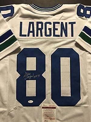 "Autographed/Signed Steve Largent ""HOF 95"" Seattle Seahawks White Football Jersey JSA COA"