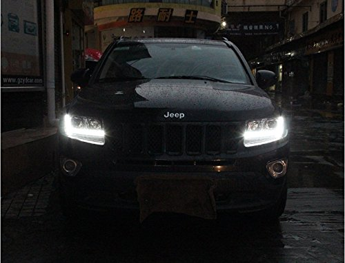 GOWE Car Styling for JEEP Compass 2011-2015 LED Headlight for Compass Head Lamp LED Daytime Running Light LED DRL Bi-Xenon HID Color Temperature:6000k;Wattage:35w 2