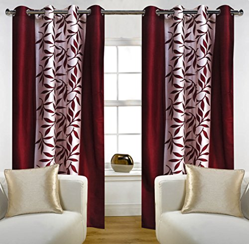 Home Candy Eyelet Fancy 2 Piece Polyester Door Curtain Set – 84″x48″, Maroon