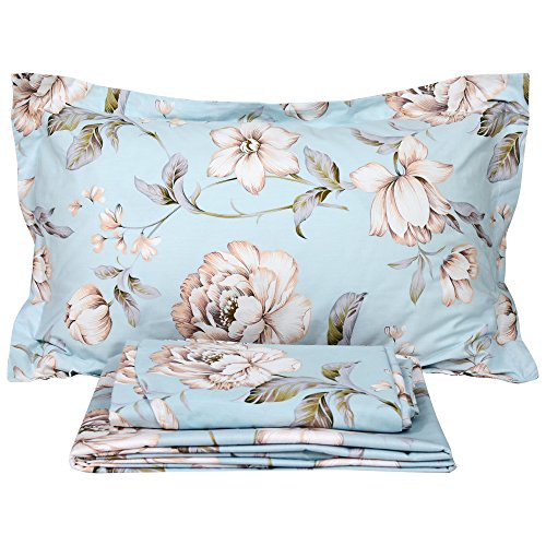 Bed Sheet Set Farmhouse Bedding Blue Cotton Summer Bedding Deep Pocket Sheets 4-Piece California King Size (King Farm)