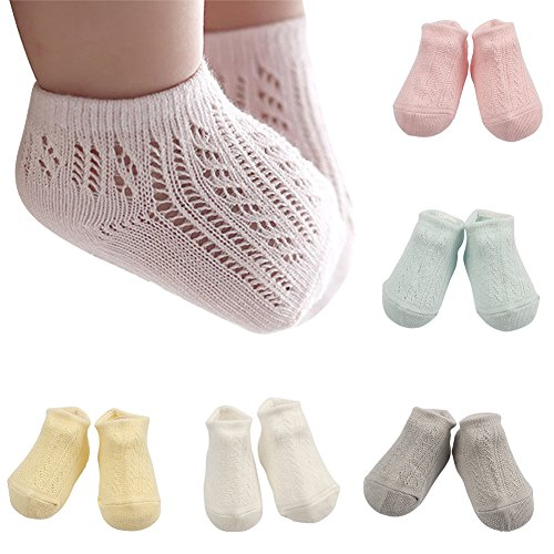 - BOOPH 5 Pair Newborn Baby Non Skid Crew Sock Pastel Solid Color Multipack For Baby Toddler Girls 2-4 Year Old