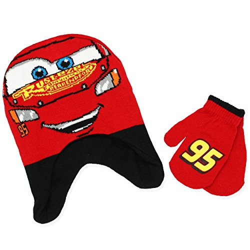 Disney Cars 3 Boys Beanie Hat and Mittens Set (One Size, Dark Red) (Lightning Mcqueen Cap)