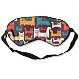 Cats Pattern Soft Silk Travel Eye Cover Adjustable Flights Sleep Mask