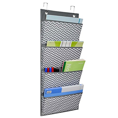 Kruideey Magazine Storage Pockets,Wall Mount/Over the Door Fabric Office Supplies Storage Organizer for Notebooks, Planners, File Folders - 4 Pockets by Kruideey