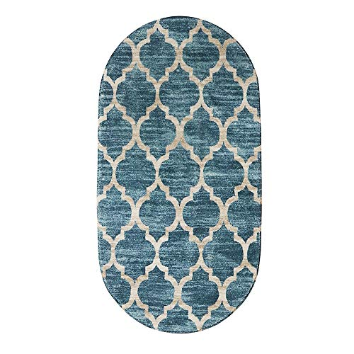 Lahome Moroccan Oval Area Rug - 2' X 4' Faux Wool Non-Slip Area Rug Small Accent Distressed Throw Rugs Floor Carpet for Door Mat Entryway Bedrooms Laundry Room Decor (Oval - 2' X 4', Blue)