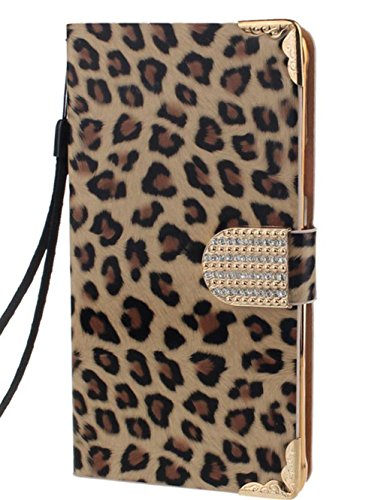 Datework Note 4 case,Diamond Leopard Leather Flip Wallet Case For Samsung Galaxy Note 4 (Gold) (4 Leopard)