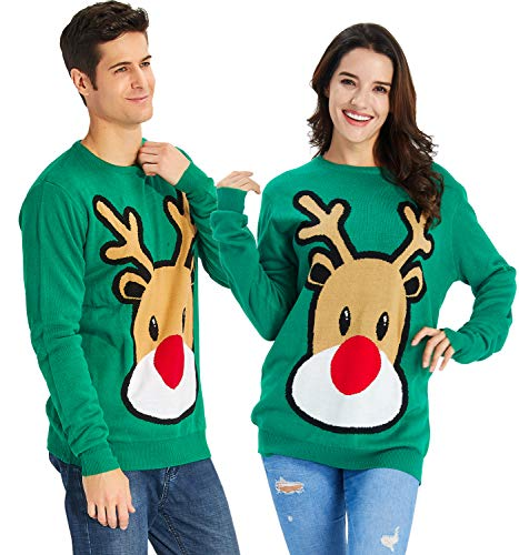 Funny Reindeer - RAISEVERN Women's Ugly Christmas Sweater Funny Reindeer Print Green Sweater Long Sleeve Knitted Pullover