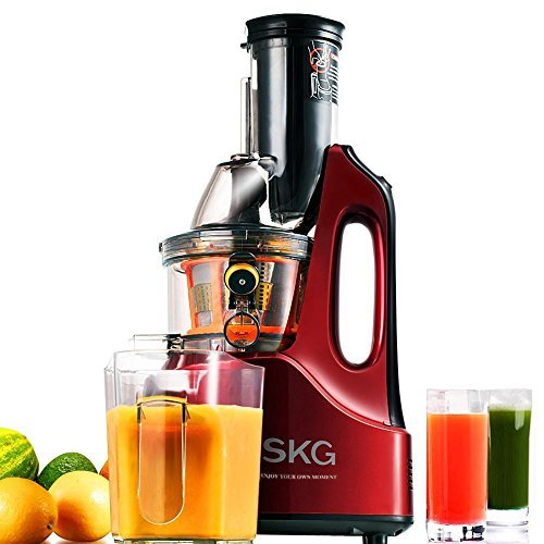 SKG Wide Chute Anti-Oxidation Slow Masticating Juicer (240W AC Motor, 60 RPMs, 3' Large Mouth) -...