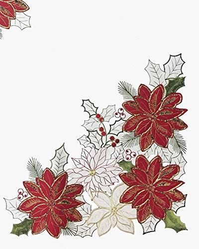 (Newbridge Pristine Poinsettia Embroidered Applique Christmas Fabric Tablecloth, Luxury Holiday Xmas Scalloped Embroidery Tablecloth, 60 Inch x 120 Inch Oblong/Rectangle,)