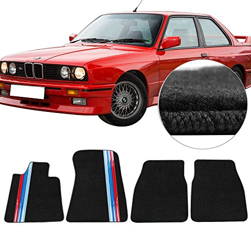 Floor Mats Fits 1984-1991 BMW 3 Series Coupe | Black Nylon Flooring Protection Interior Carpets With 3 Colors Stripes by IKON MOTORSPORTS | 1985 1986 1987 1988 1989 1990