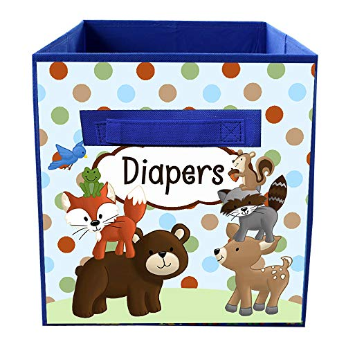 Blue Stacked Forest Animal Woodland Friends Fabric Bin Kid's Bedroom Baby Nursery Organizer for Toys or Clothing FB0071 -