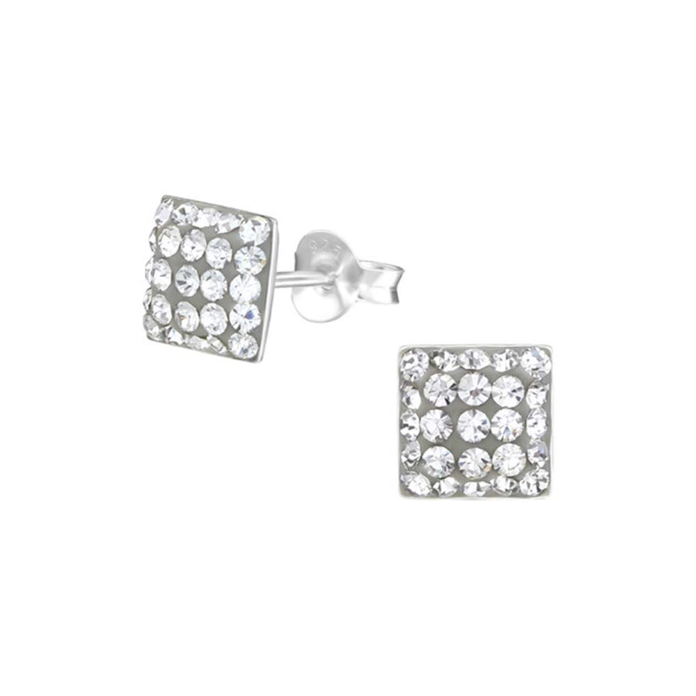 Square Crystal Ear Studs 925 Sterling Silver Nb Of Crystal Stones 50