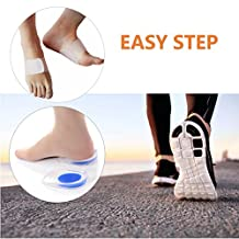 LeWonde Plantar Fasciitis Arch Support Foot Compression Brace (1 Pair) Heel Pain Silicone Gel Insoles (1 Pair) for Flat Feet Instant Foot Pain Relief (Small/Medium, White Brace)