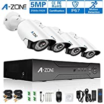 A-ZONE Security Camera System 1920P 4CH AHD DVR Home Surveillance System W/ 4x HD 5.0MP Waterproof Night vision CCTV surveillance Camera, Quick Remote Access Setup Free App