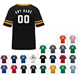 Customized (Name/# on Back) Athletic Sports Striped Sleeve Poly Cotton Jersey/
