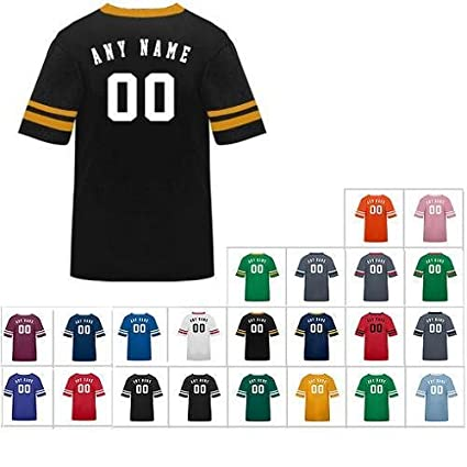 7a2e83d14 Customized (Name/# on Back) Athletic Sports Striped Sleeve Poly Cotton  Jersey/Shirt (All Sports: Soccer, Football, Baseball, etc or Casual/School  Wear) 21 ...