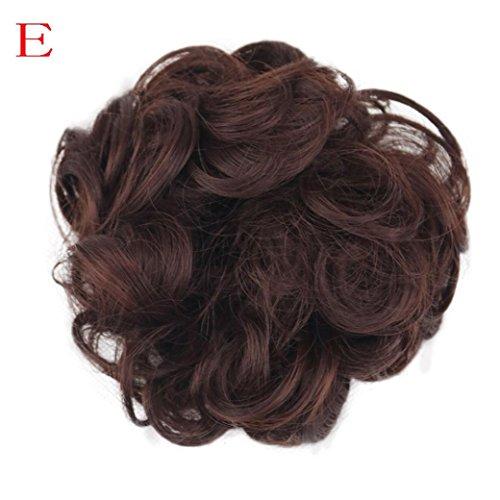 Fullfun Frauen kurze lockige chaotisch Perücken Haarverlängerungen braun schwarz E