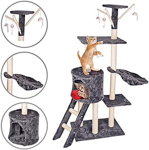 A Hammock and Cat house 3 Viewing Spots 4x Toy Mice Invero Pet Deluxe Multi-Level Cat Tree Scratcher Activity Centre with Sisal-Covered Scratching Posts