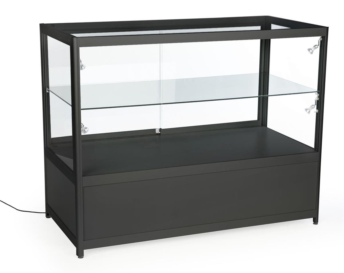 Displays2go 48'' Retail Showcase, w/Storage, LED Lights, Lockable Sliding Door - Black (SCTCT48LDB) by Displays2go (Image #2)