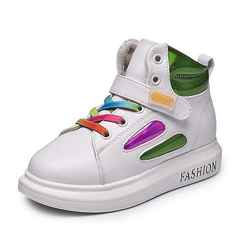 8dad9e6f88d Niños de otoño Invierno Zapatillas Altas con Velcro Niños Chicas Zapatos  Blancos Negros Cálido Felpa Botas Casual Zapatos de Deporte para niños   Amazon.es  ...