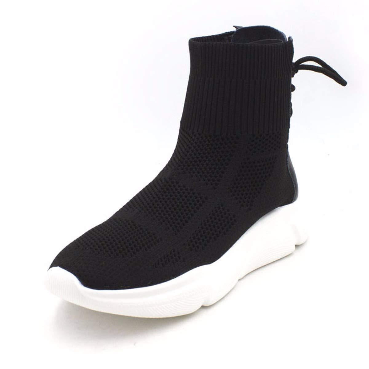 HBDLH Damenschuhe Student Schuhe Heel 3Cm Flachen Boden Fliegende Stricken Casual Schuhen Hohe Stiefel Martin Stiefel