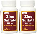 Zinc Sulfate 220 mg Dietary Supplement Tablets - 100 ea (Pack of 2)