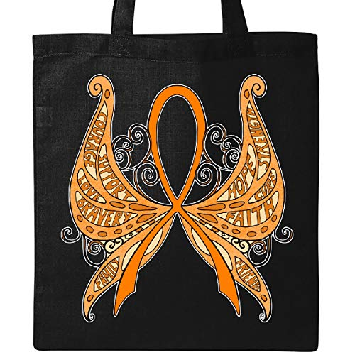 Inktastic Leukemia Awareness with Butterfly Ribbon Words Tote Bag Black - Leukemia Butterfly Ribbon