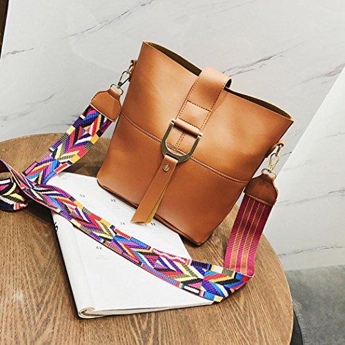 Wide Women Handbag Shoulder Strap Leather Fashion Brown Hunpta Bag Bucket aZt4SS