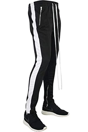 1fc14799b Amazon.com: Basic Essentials Side Stripe Zip Pocket Track Pants Black -  White (ZCM4418PS): Clothing