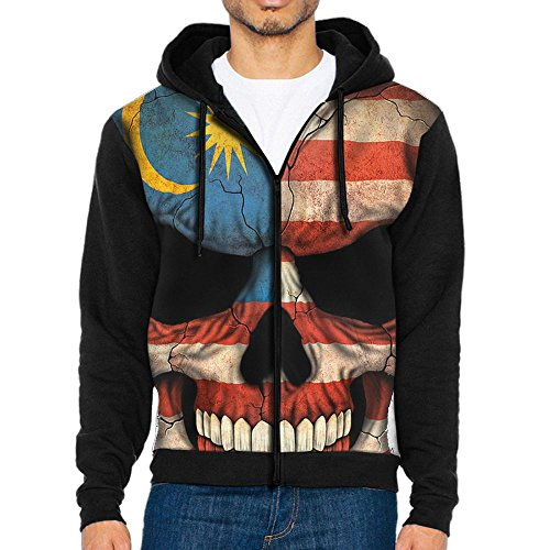 Q-oqo Men Malaysian Flag Skull Classicl Zip Up Hoodie Sweatshirts With Hat and - Mirror Malaysian