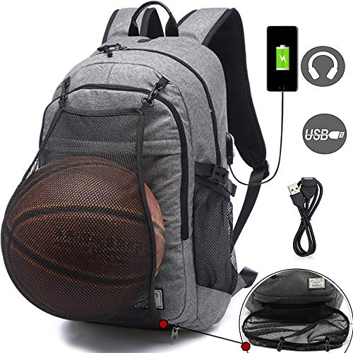 Football Backpack - Basketball Bags Sports Backpacks for Football, Soccer with Ball Compartment Laptop Computer Backpack with USB Charging and Headphone Port Fit 15.6 Inch Notebook for Boys Men Gray