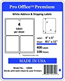 Shipping Label Printer - Pro Office Premium 400 Self Adhesive Shipping Labels for Laser Printers and Ink Jet Printers, White, Made in USA, 4 x 5 Inches, Pack of 400