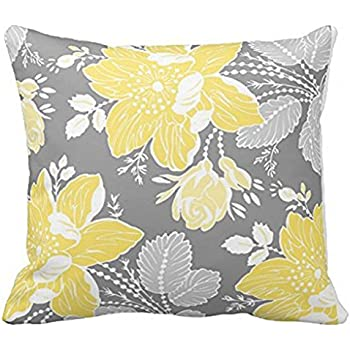 yellow gray white floral decorative throw pillow case cushion cover pillows cheap for couch ideas living room