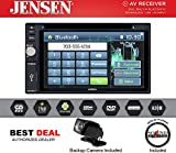 Jensen VX3022 6.2' touchscreen display DVD/CD receiver with AM/FM tuner and Bluetooth for hands-free calling and audio streaming with JCAM1 Rear View Backup Camera and FREE SOTS Air Freshener