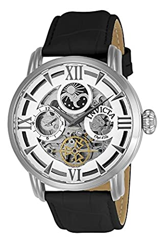 Invicta Men's 'Objet d'Art' Automatic Stainless Steel and Leather Casual Watch, Color:Black (Model: (Invicta Watch Black Leather)