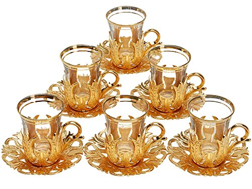 6 X CopperBull 2018 Turkish Tea Glasses Set with Saucers Holders & Spoons (Gold)