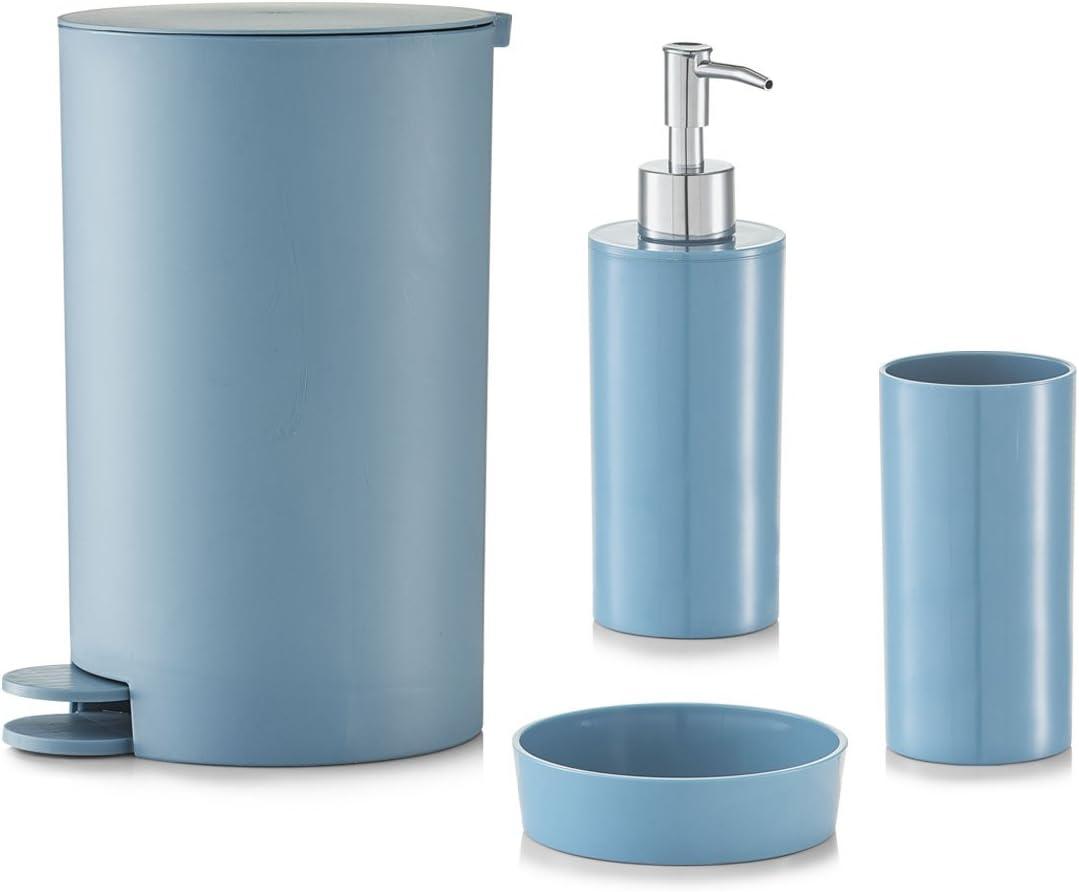 4/Piezas Azul pl/ástico pl/ástico Zeller 18800/Juego de Accesorios para el ba/ño 14.5 x 15.5 x 27 cm