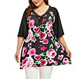 YANG-YI Plus Size Women Tops, Clearance Women Print Short Sleeve Casual T Shirt Tops Blouse (Black, 5XL)