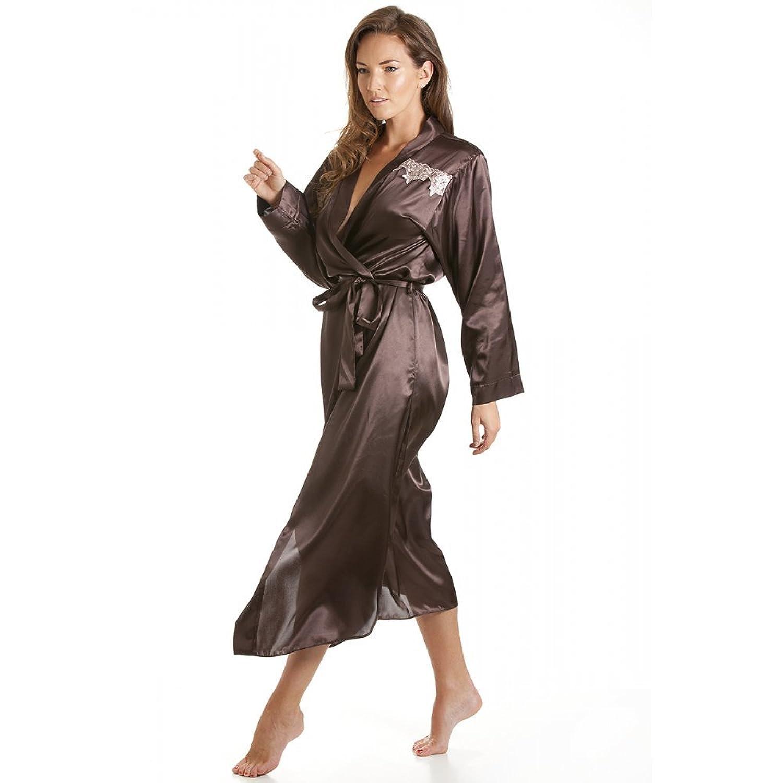 Camille Womens Ladies Nightwear Chocolate Brown Satin Long Length ...