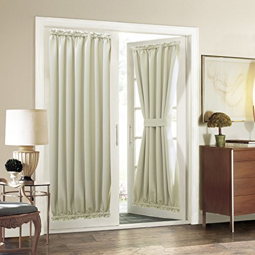 Aquazolax Plain Blackout Curtains French Door Panels Premium - 1 Piece 54\  x 72\  Light Saga Beige & Door Coverings: Amazon.com