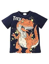 EISHOW Little Kids Boys Toddler Cartoon Tee Dinosaur Short Sleeve Letter Print T Shirt 1-7 Years