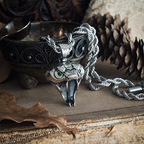 (Handmade Viper school medallion, snake pendant.)