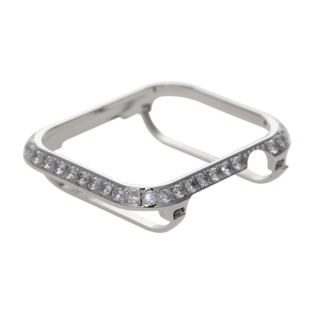 UKCOCO Compatible Apple Watch 4 Case, Luxury Crystal Diamonds Metal Frame iWatch Bezel Edge Protector Protective Bumper Compatible iWatch Series 4 Sport Edition (40mm-Silver)