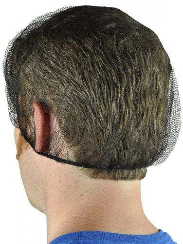 Shield Safety 18''~24'' Nylon Hair Net Cap White/ Black for Medical Food Service (24'' Black)