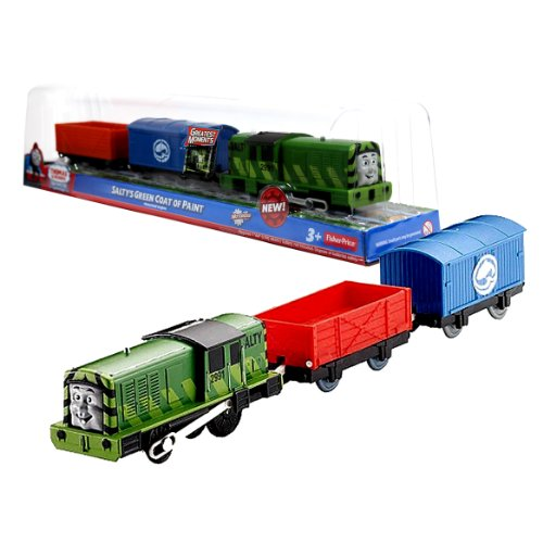 Thomas Engine Battery Train Powered (Fisher Price Year 2012 Thomas and Friends Greatest Moments Series Trackmaster Motorized Railway Battery Powered Tank Engine 3 Pack Train Set - SALTY'S GREEN COAT OF PAINT with Salty Green Engine, Blue Fish Van and Red Truck)